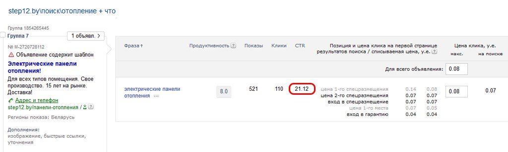 Отопление -Яндекс Директ