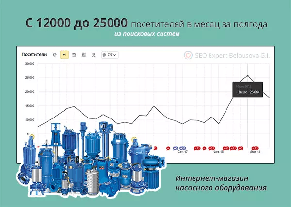 The increase in attendance of the online equipment shop by 2 times in six months from Google and Yandex