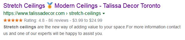 Сниппет с рейтингом в Google
